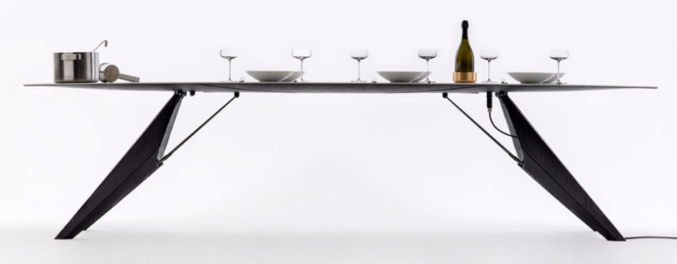 A Smart Modern Dining Table Cooks Food and Chills Drinks | www.bocadolobo.com #moderndiningtables #diningtables #exclusivedesign #productdesign #productdesigner #luxuryfurniture #diningroom #thediningroom #diningarea @moderndiningtables
