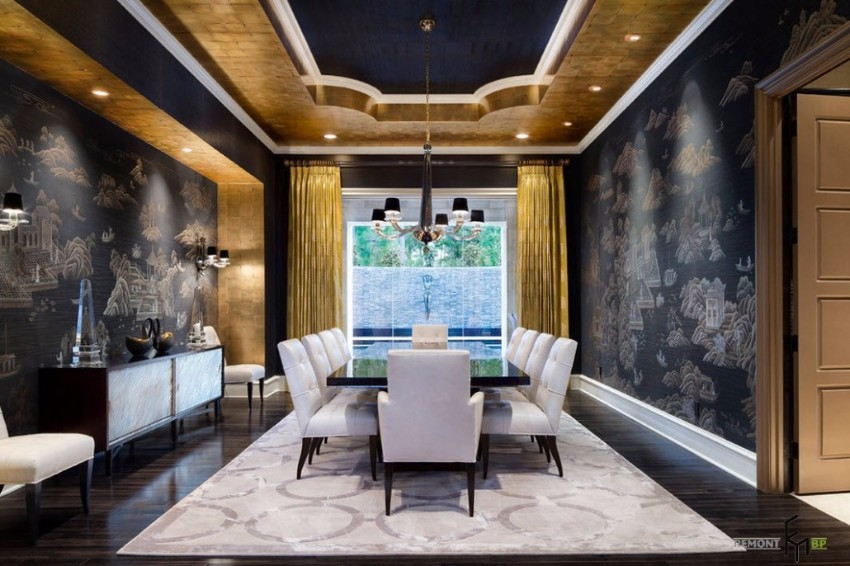 top interior designers 10 Brilliant Gold Dining Rooms by World's Top Interior Designers black and gold inteiror