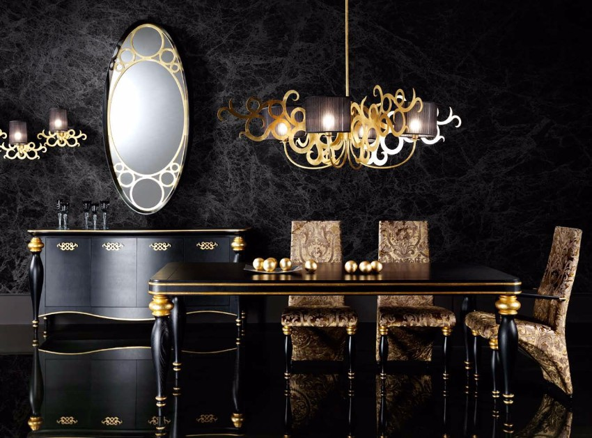 top interior designers 10 Brilliant Gold Dining Rooms by World's Top Interior Designers black lacquer
