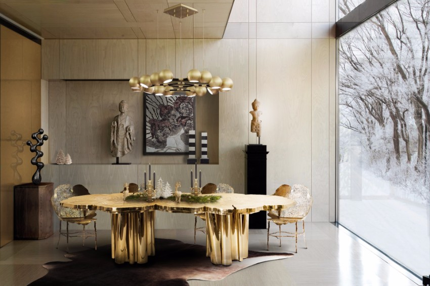 10 Brilliant Gold Dining Rooms by World's Top Interior Designers top interior designers 10 Brilliant Gold Dining Rooms by World's Top Interior Designers fortuna press covers christmas