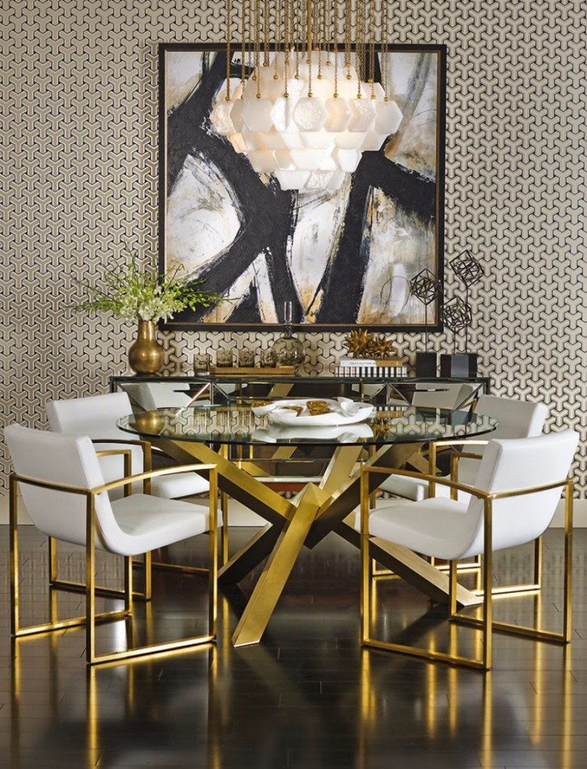 top interior designers 10 Brilliant Gold Dining Rooms by World's Top Interior Designers glass top golden table
