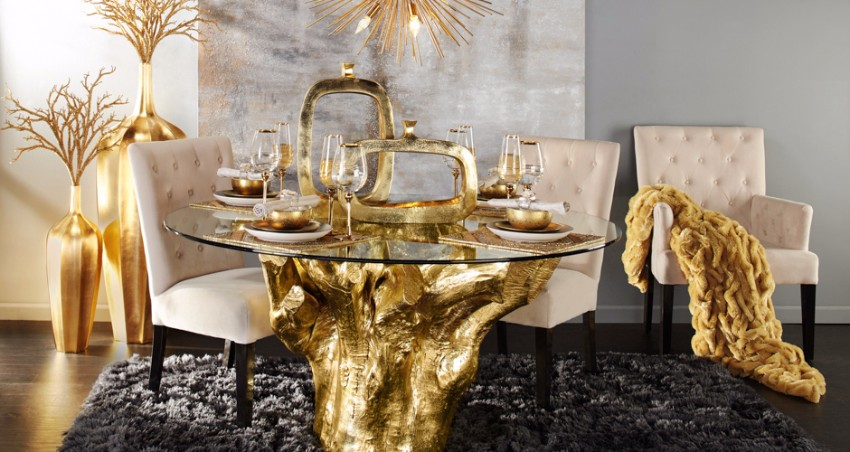 10 brilliant gold dining rooms by world s top interior for Dining room z gallerie