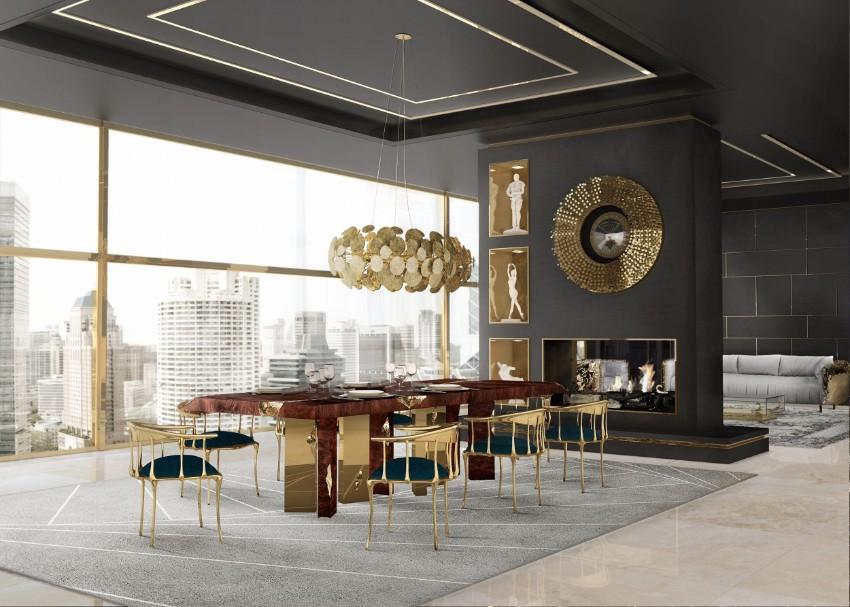 unique light fixtures Unique Light Fixtures For An Astounding Dining Room Boca do lobo   Neweton chandelier