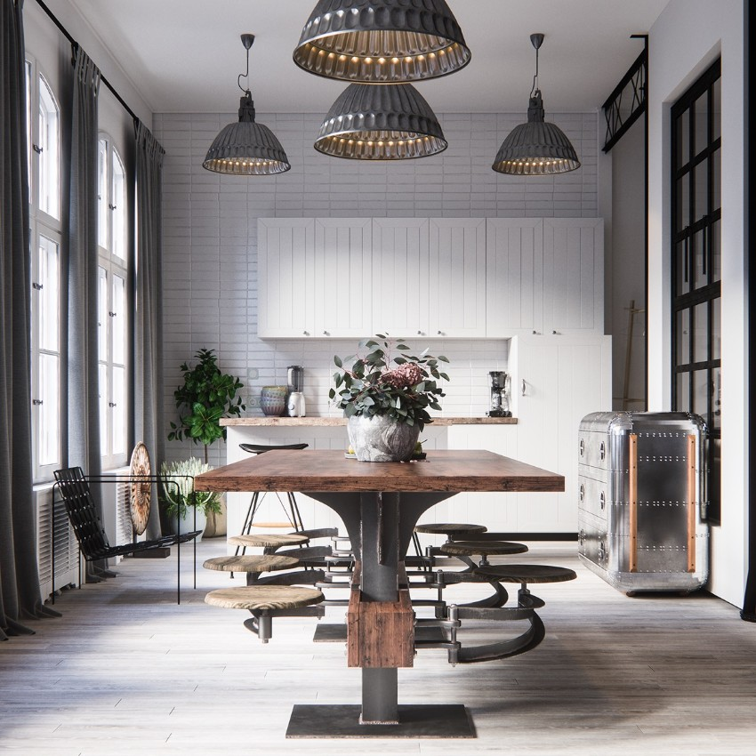 industrial style 10 Trendy Industrial Style Dining Rooms 9 10 trendy industrial style dining rooms