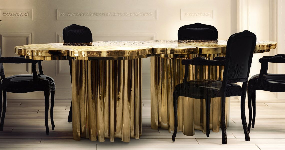 Add Sophistication to Your Dining Area with These Golden Dining Tables