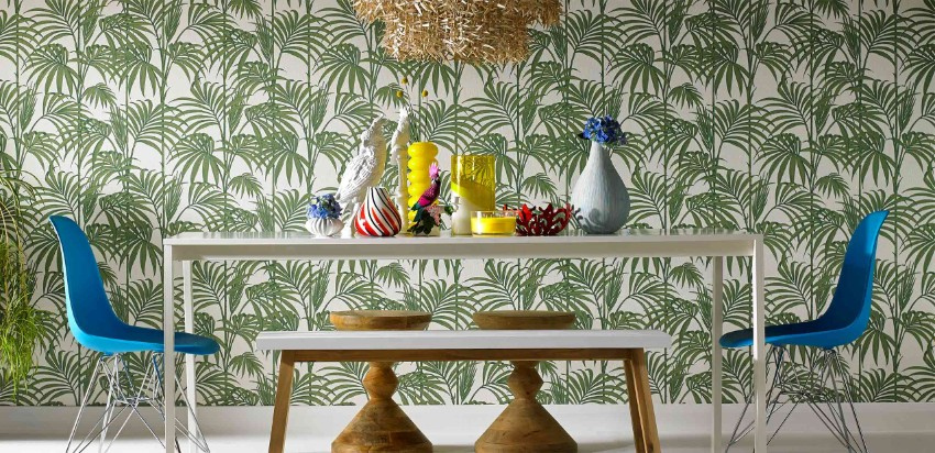 Patterned Walls to Get a Tropical Touch to Your Dining Room