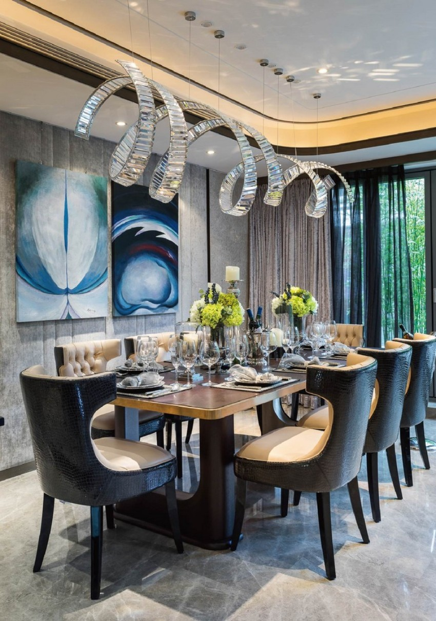 luxury dining room What a Simple Piece of Art Can Do for a Luxury Dining Room gorgeous luxury dining room