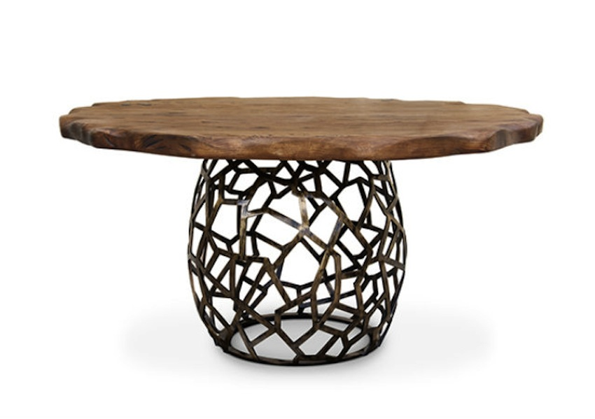 Modern-Dining-Room-Tables-Ideas-49-Apis-round-geometric-wood-brass-dining-table