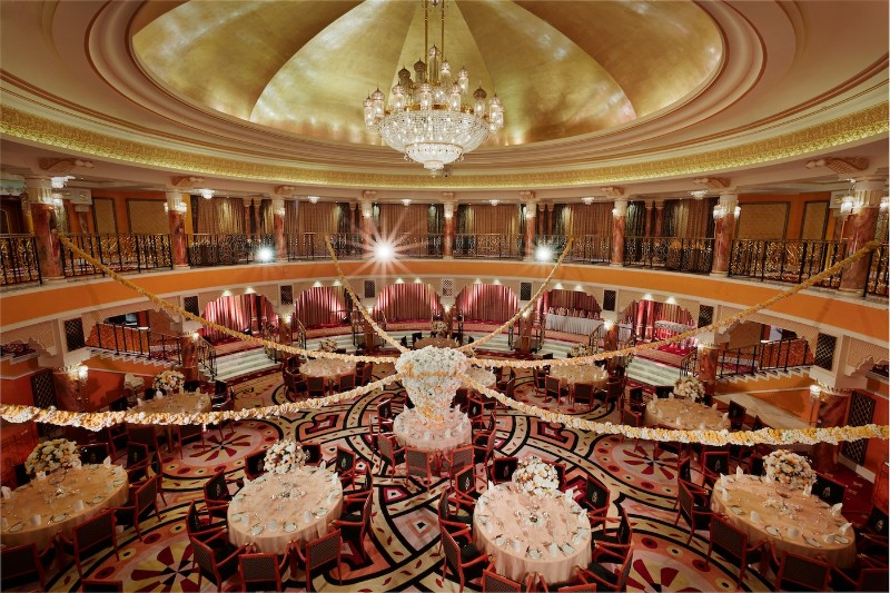 Top Luxury Dining Rooms By The Best Hotels In Middle East dining rooms Top Luxury Dining Rooms By The Best Hotels In Middle East Burj Al Arab 04 Al Falak Ballroom Wedding setup