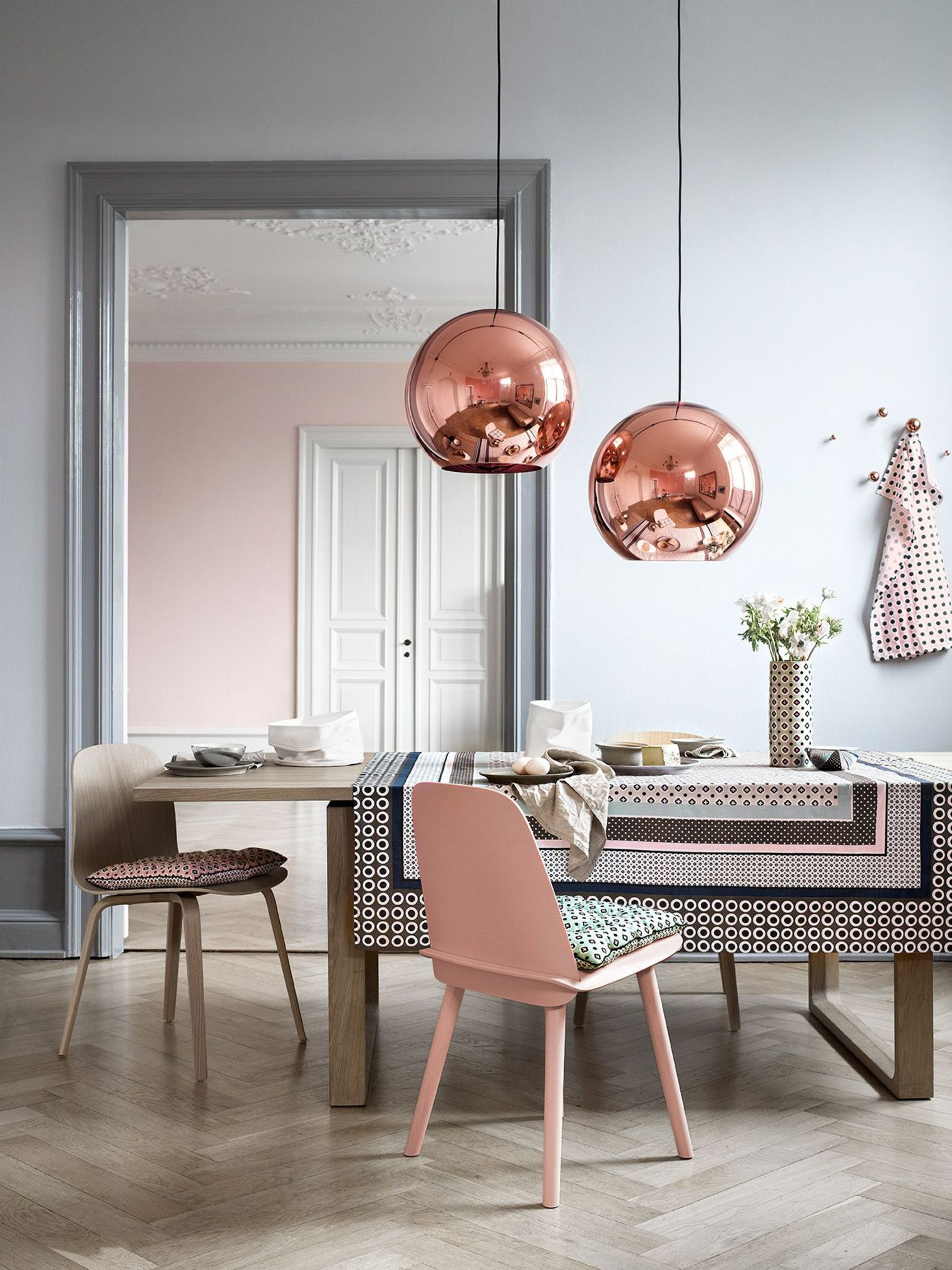 colour trends 2019 Colour Trends 2019: Transform your Dining Room dusty pink dining 2