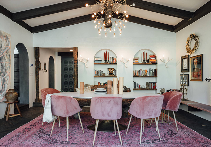 colour trends 2019 Colour Trends 2019: Transform your Dining Room dusty pink dining