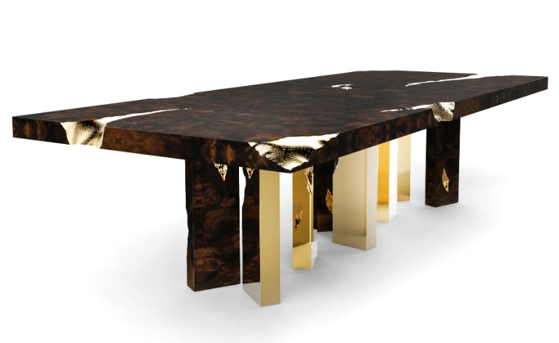 modern furniture gold dining tables Gold Dining Tables With a Unique Design by Luxury Brands empire dining boca