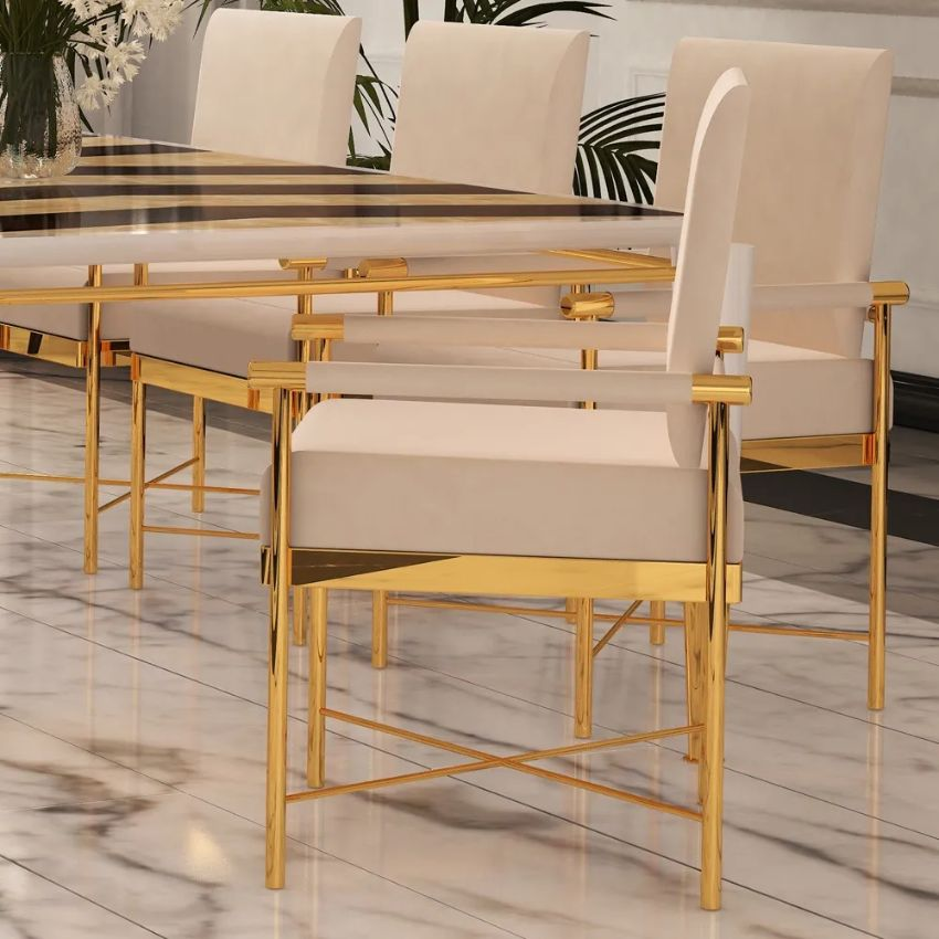 Modern Dining Chairs by Juliettes Interiors modern dining chairs Modern Dining Chairs by Juliettes Interiors Chic Contemporary Leather Designer Polished Brass Dining Chair 1