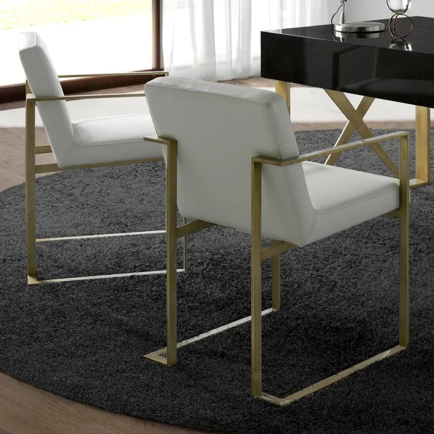 Modern Dining Chairs by Juliettes Interiors modern dining chairs Modern Dining Chairs by Juliettes Interiors London Collection High End Leather Brushed Gold Armchair 1
