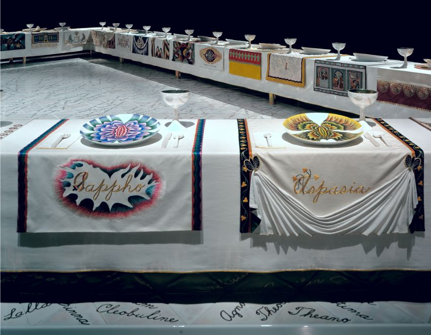 The Dinner Party by Judy Chicago at Brooklyn Museum judy chicago The Dinner Party by Judy Chicago at Brooklyn Museum Wing 1 Sappho Aspasia